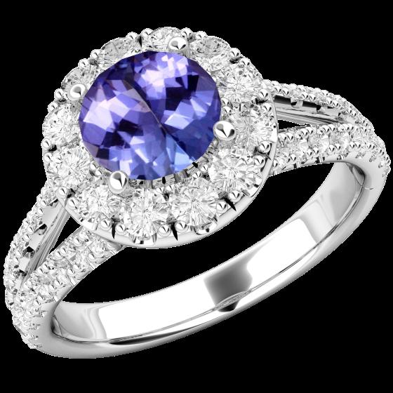 RDT571W-Inel cu Tanzanite si Diamant Dama Aur Alb 18kt cu un Tanzanit Rotund si Diamante Mici Rotund Briliant Imprejur si pe Margini,Design Clasic,Eleganță Modermă-img1