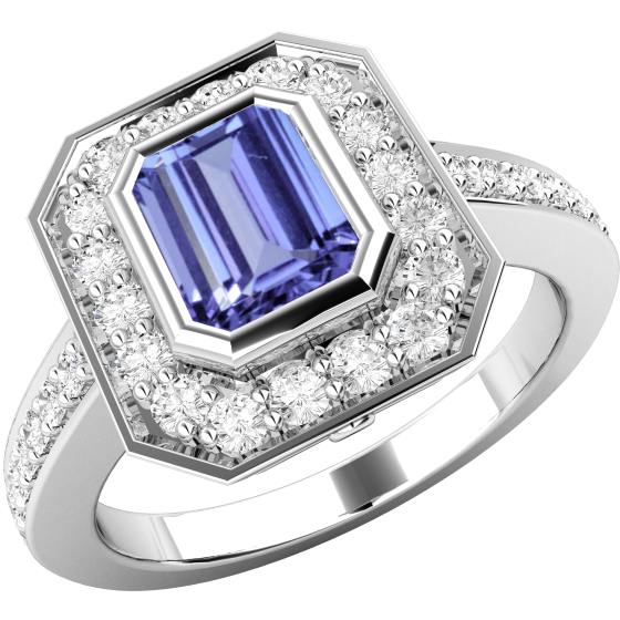 Inel cu Tanzanit si Diamant Dama Aur Alb 18kt cu un Tanzanit Forma Octagon in Setare Rub Over si Diamante Mici Rotund Briliant Imprejur-img1