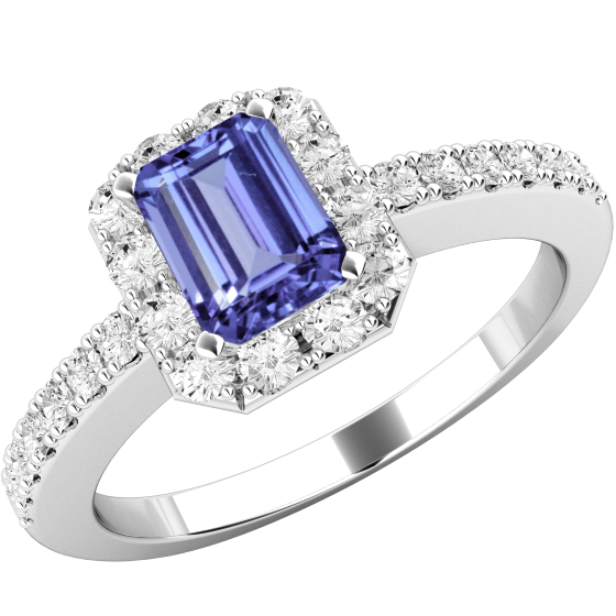 cut gems baguette precious di engagement tanzanite ring gold diamond emerald
