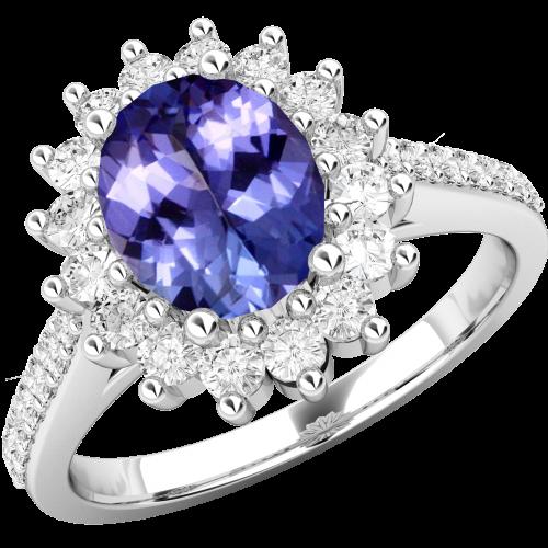 Inel cu Tanzanit si Diamant Dama Aur Alb 18kt cu un Safir in Forma Ovala in Centru si Diamante Mici Rotund Briliant Imprejur si pe Margini,Eleganță Modernă-img1