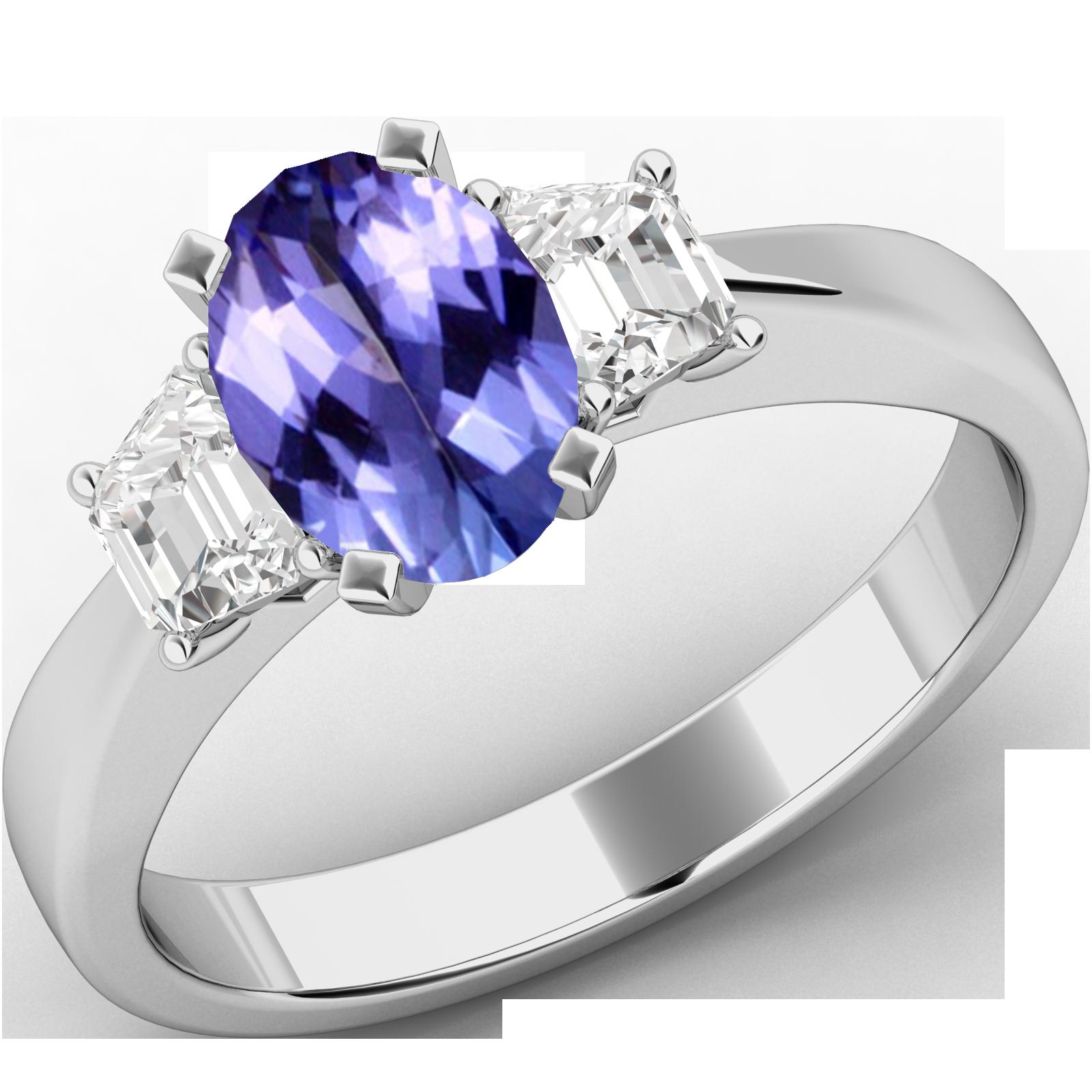 Inel de Logodna cu Tanzanit si 2 Diamante Dama Aur Alb 18kt cu un Tanzanit Central Forma Ovala si Doua Diamante in Forma de Trapez-img1