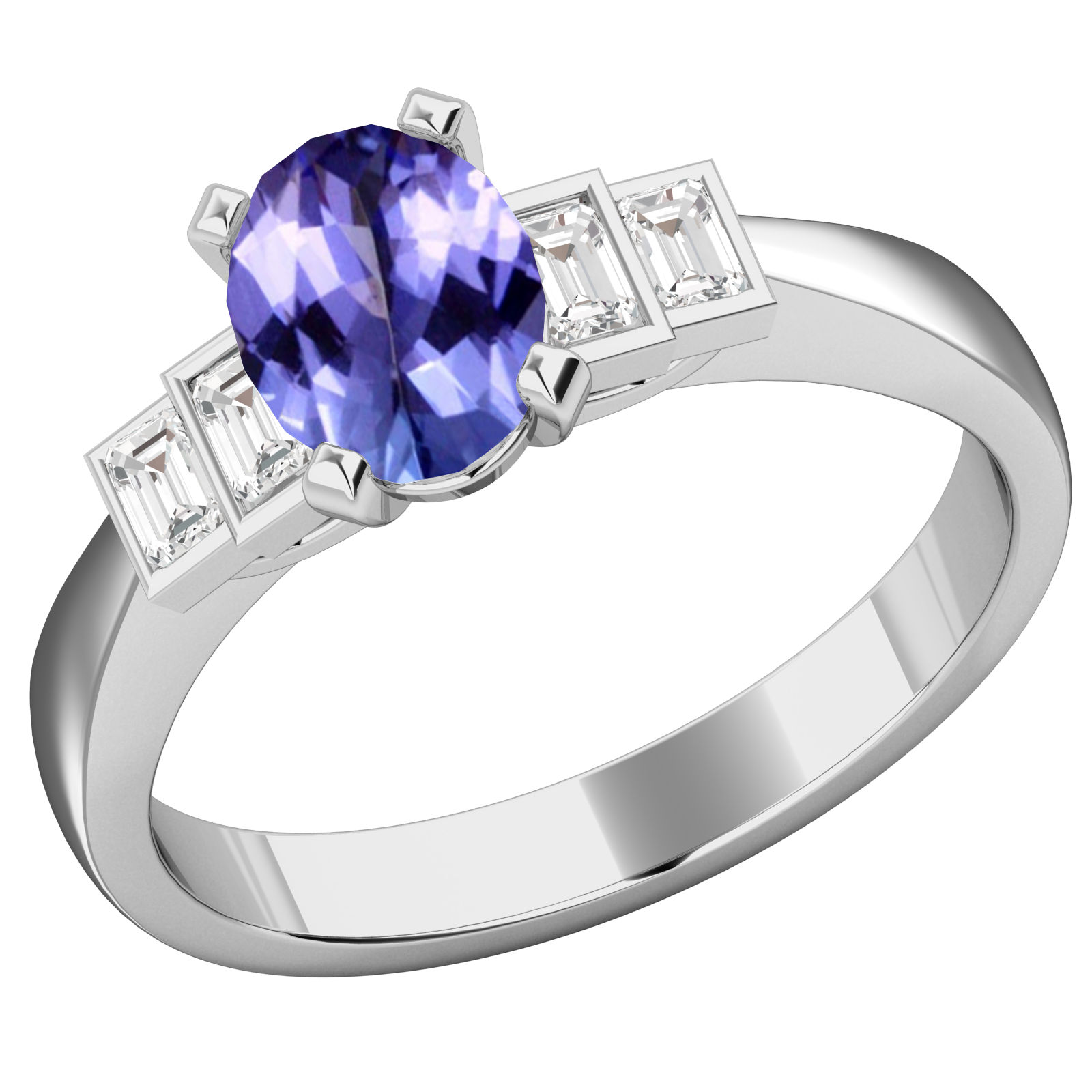 RDT718W-Inel cu Tanzanite si Diamante Dama Aur Alb 18kt cu 4 Diamante, cu un Tanzanite Central Oval si Diamante Forma Bagheta pe Margini-img1