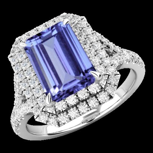 Inel cu Tanzanite si Diamante Dama Aur Alb 18kt cu un Tanzanite Central Taietura Smarald si Diamante Mici Rotund Briliant Imprejur si pe Lateral-img1