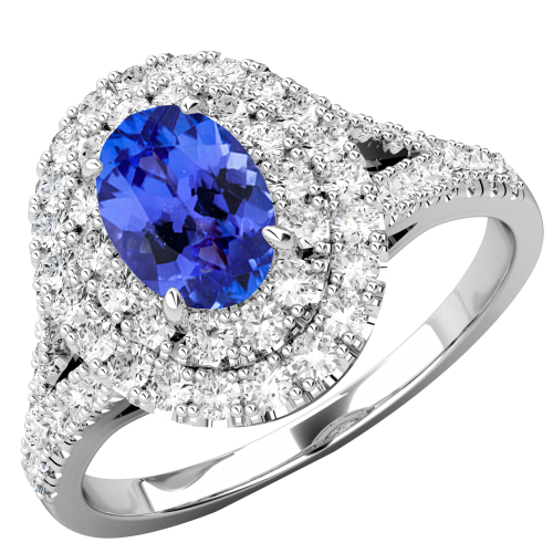 RDT762W-Inel Cocktail/Inel cu Tanzanite si Diamante Dama Aur Alb 18kt cu un Tanzanite Central Oval si Diamante Mici Rotund Briliant-img1