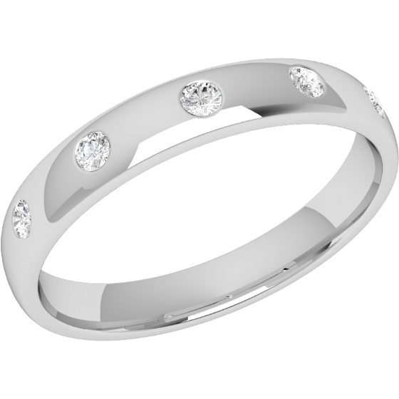 Diamond Set Wedding Ring for Women in Platinum with Five Round Brilliant Cut Diamonds in a Rub-Over Setting, Court Profile, Width 3.5mm-img1
