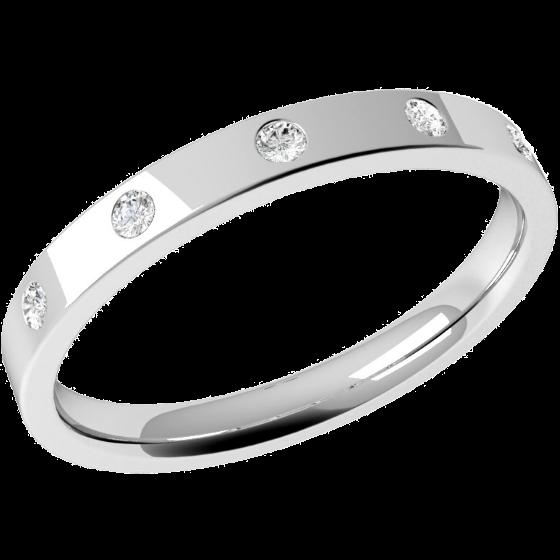 Ehering mit Diamanten für Dame in 9kt Weißgold mit 5 runden Brillanten in Zargenfassung, außen flach/innen bombiert, Breite 2.5mm-img1