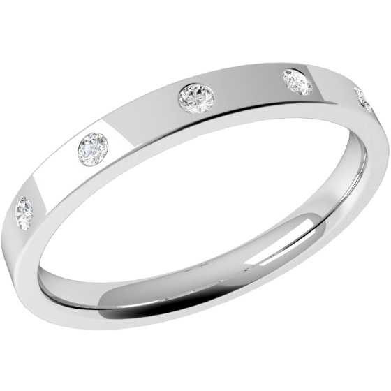 Diamond Set Wedding Ring for Women in Platinum with 5 Round Brilliant Cut Diamonds in a Rub-Over Setting, Flat Top/Courted Inside, Width 2.5mm-img1