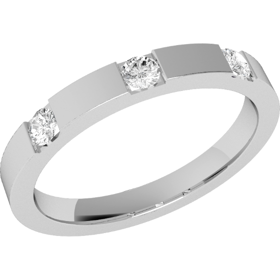 Diamond Set Wedding Ring for Women in Palladium with Three Round Brilliant Cut Diamonds in a Channel Setting, Flat Top/Courted Inside, Width 2.5mm-img1