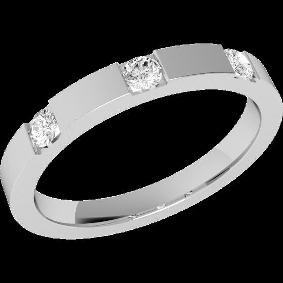 RDW005W1 - 18kt aur alb Verighetă damă bombată, lăţime 2.5mm, cu 3 diamante tăietura rotund brilliant setate în bară-img1