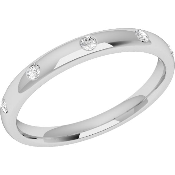 Diamond Set Wedding Ring for Women in Palladium with Five Round Brilliant Cut Diamonds in a Rub-Over Setting, Court, Width 2.5mm-img1