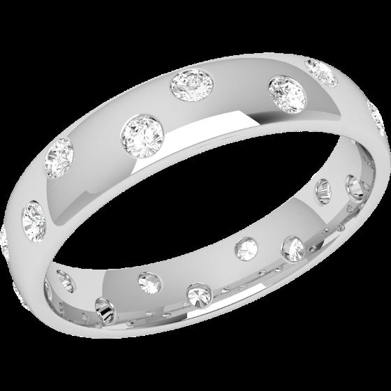 Ehering mit Diamanten für Dame in Platin mit 18 runden Brillanten die gehen ringsherum, bombiertes Profil, Breite 4.5mm-img1