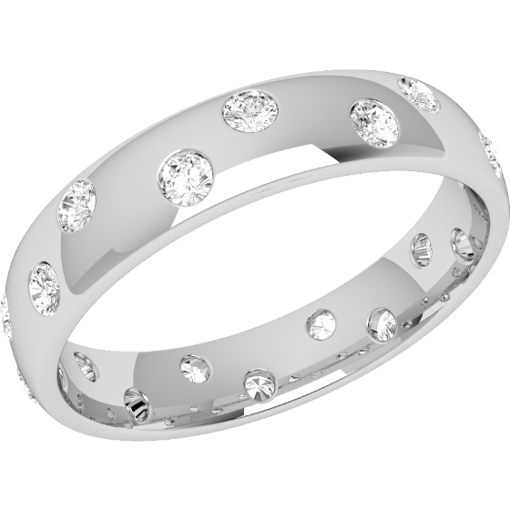 Diamond Set Wedding Ring for Women in 18ct White Gold with 18 Round Brilliant