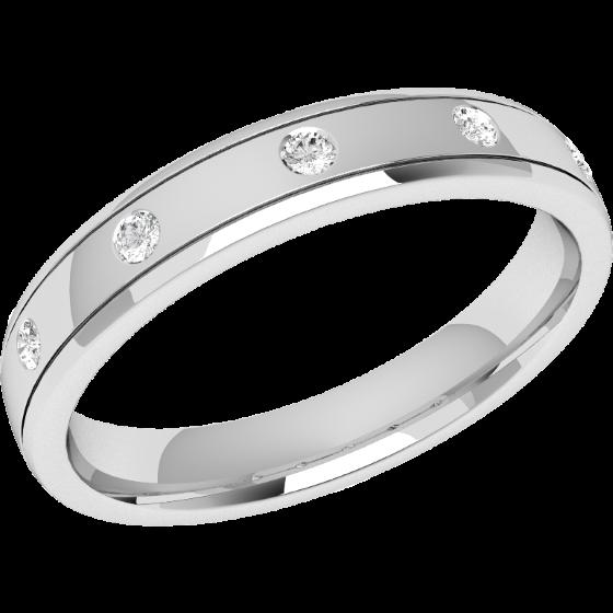 Ehering mit Diamanten für Dame in Platin mit 5 Brillanten in Zargenfassung, bombiertes Profil, Breite 3.5mm-img1