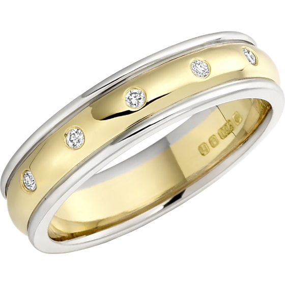Diamond Set Wedding Ring for Women in 18ct Yellow and White Gold with Five Round Brilliant Cut Diamonds in a Rub-Over Setting, Court, Width 4.5mm-img1
