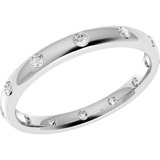Diamond Set Wedding Ring for Women in Platinum with 12 Round Brilliant Cut Diamonds in a Rub-Over Setting Goind all the Way Around, Court, Width 2.5mm-img1