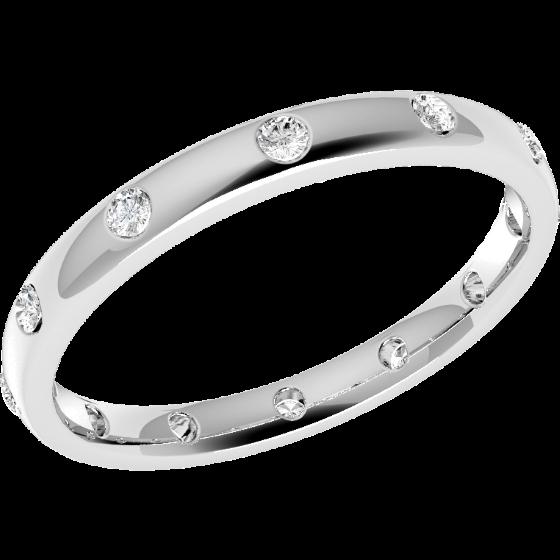Verigheta cu Diamant Dama Aur Alb 18kt cu 12 Diamante Rotund Briliant Setate Rub-Over in Jurul Inelului, Profil Bombat, Latime 2.5mm-img1