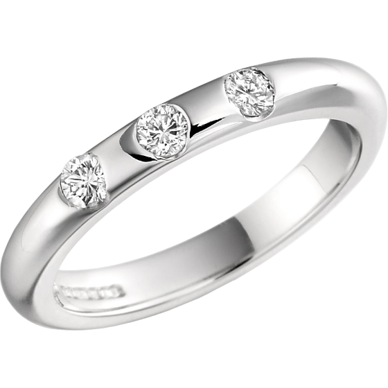 Diamond Set Wedding Ring for Women in Platinum with 3 Round Brilliant Cut Diamonds in a Rub-Over Setting, High Domed, Width 3mm-img1