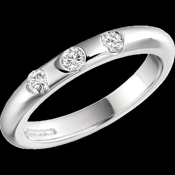 Ehering mit Diamanten für Dame in Palladium mit 3 runden Brillantschliff Diamanten in Zargenfassung, gewölbtes Profil, Breite 3mm-img1