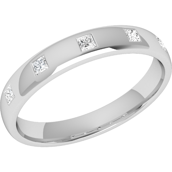Diamond Set Wedding Ring For Women In Platinum With Five Princess Cut Diamonds A Rub Over Setting Court Width 3 5mm