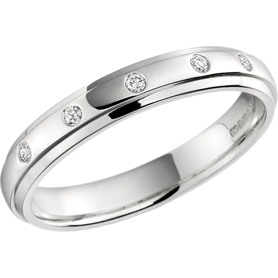 Diamond Set Wedding Ring for Women in Palladium with 5 Round Brilliant Cut Diamonds in a Rub-Over Setting, Court, Width 3.5mm-img1