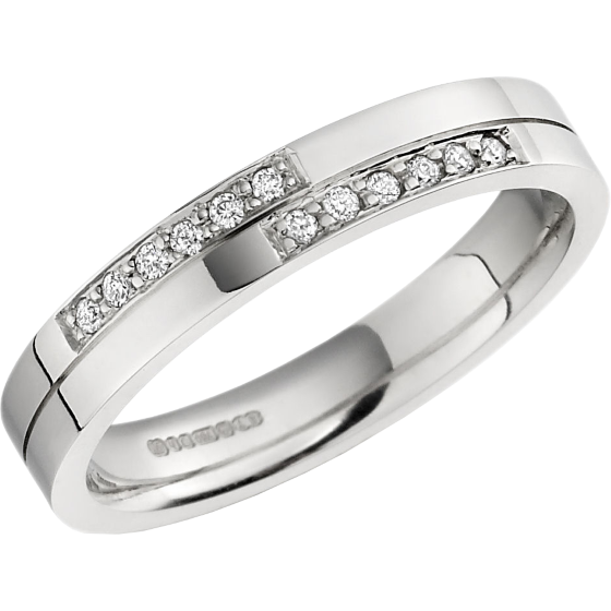 Ehering mit Diamanten für Dame in 18kt Weißgold mit 12 runden Brillanten in Pavefassung, außen flach/innen bombiert-img1