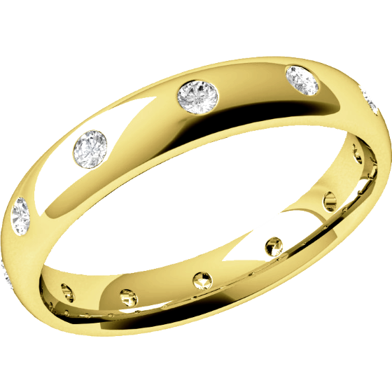 Diamond Set Wedding Ring for Women in 18ct Yellow Gold with 12 Round Brilliant Cut Diamonds in a Rub-Over Setting, Court, Width 3.5mm-img1