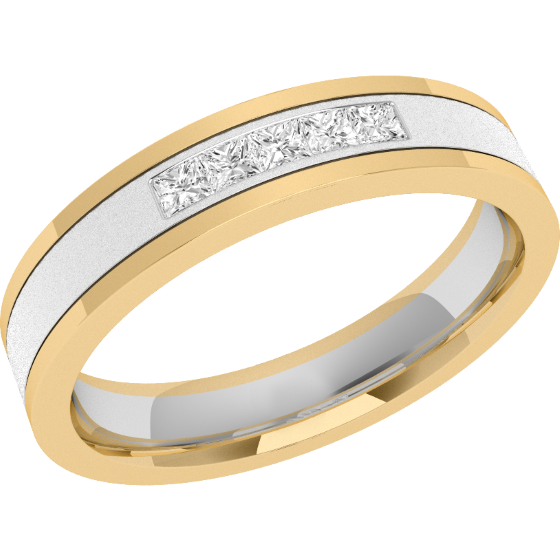 Diamond Set Wedding Ring For Women In 18ct White And Yellow Gold With Five Princess Cut Diamonds A Channel Setting Court Width 4mm