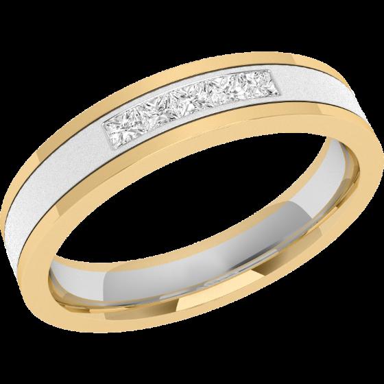 Verigheta cu Diamant Dama Aur Alb si Aur Galben 18kt cu 5 Diamante Princess in Setare Canal, Interior Bombat, Latime 4mm-img1