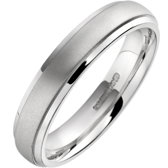 Plain Wedding Band For Women In Platinum Court Profile Sandblasted With Polished Edges Width 4mm