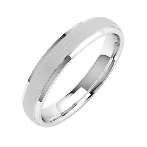 Plain Wedding Band For Women In 18ct White Gold Court Profile Sandblasted With Polished Edges Width 4mm