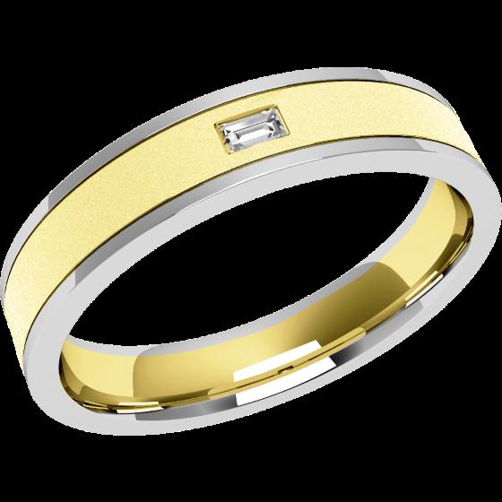Verigheta cu Diamant Dama Aur Alb & Aur Galben 18kt cu un Diamant Forma Bagheta in Setare Rub-Over Latime 4.25mm-img1