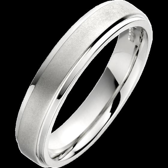 Einfacher Ehering für Dame in 9kt Weißgold mit sandgestrahlte Mitte und polierten Kanten, 4mm breit-img1