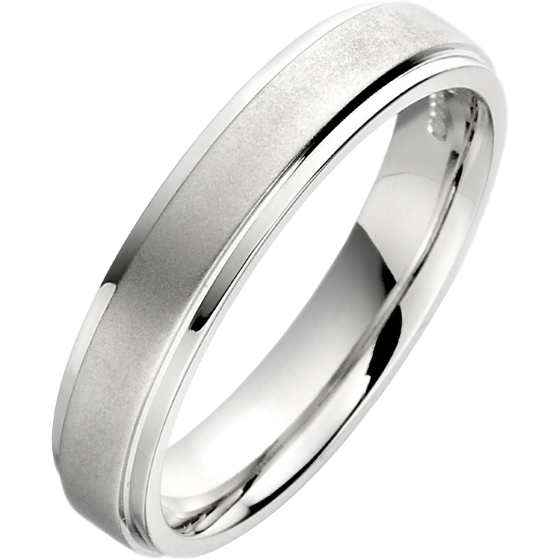 Einfacher Ehering für Dame in Palladium mit sandgestrahlte Mitte und polierten Kanten, 4mm breit-img1