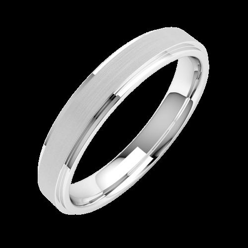 Einfacher Ehering für Dame in 18kt Weißgold mit sandgestrahlte Mitte und polierten Kanten, 4mm breit-img1