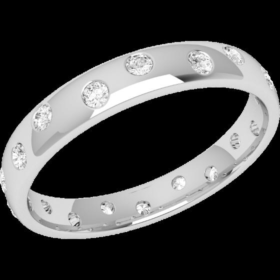 Ehering mit Diamanten für Dame in Palladium mit 18 runden Brillanten in Zargenfassung die gehen ringsherum, bombiert, 3.5mm breit-img1