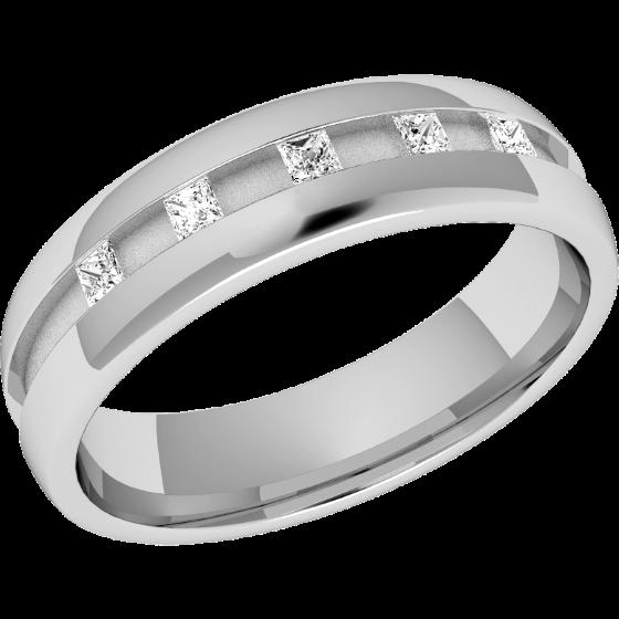 Verigheta cu Diamant Dama Aur Alb 18kt cu 5 Diamante Forma Princess in Setare Canal Profil Bombat Latime 4.5mm-img1