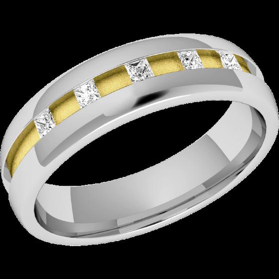 Ehering mit Diamanten für Dame in 18kt Gelb und Weißgold mit 5 Princess Schliff Diamanten in Kanalfassung, bombiertes Profil, Breite 4.5mm-img1