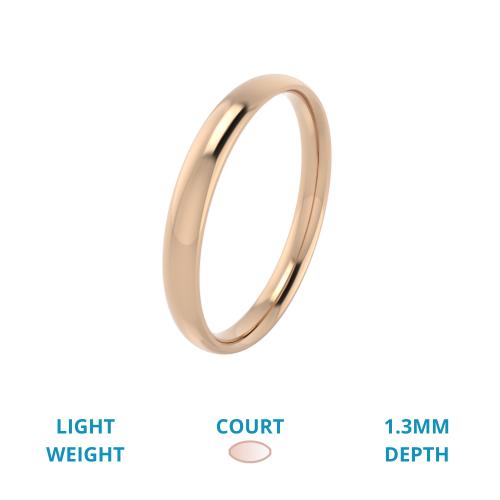RDW053RL - Verighetă damă aur roz de 18kt, greutate redusă, lustruită, profil rotunjit.-img1