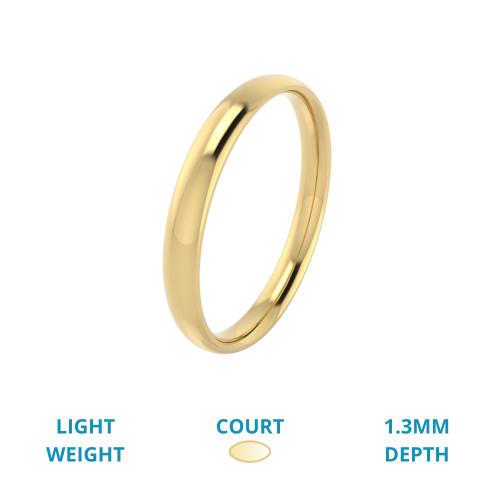 Einfacher Ehering für Dame in 18kt Gelbgold, Leichtgewicht, bombiertes Profil, poliert-img1
