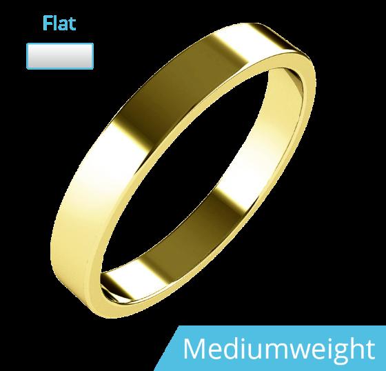 Einfacher Ehering für Dame in 9kt Gelbgold, mittelschwer, flaches Profil-img1