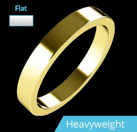 Einfacher Ehering für Dame in 9kt Gelbgold, Schwergewicht, flaches Profil, poliert-img1