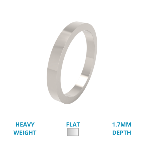Einfacher Ehering für Dame in 18kt Weißgold, Schwergewicht, flaches Profil, poliert-img1