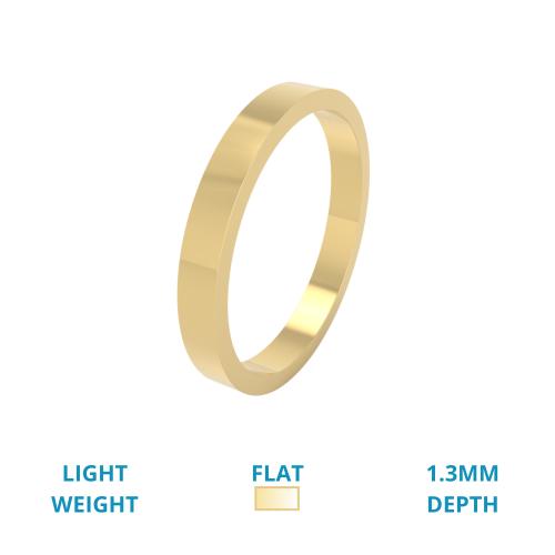 Einfacher Ehering für Dame in 18kt Gelbgold, Leichtgewicht, flach, poliert-img1