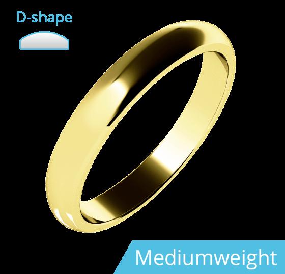Einfacher Ehering für Dame in 9kt Gelbgold, mittelschwer, D-förmiges Profil, poliert-img1