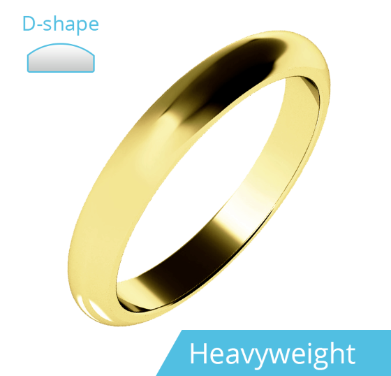 Einfacher Ehering für Dame in 9kt Gelbgold, Schwergewicht, D-förmiges Profil, poliert-img1