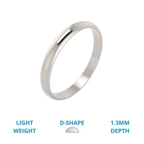Einfacher Ehering für Dame in 18kt Weißgold, Leichtgewicht, D-förmig, poliert-img1