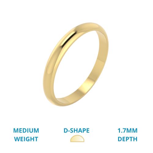 Einfacher Ehering für Dame in 18kt Gelbgold, mittelschwer, D-förmiges Profil, poliert-img1