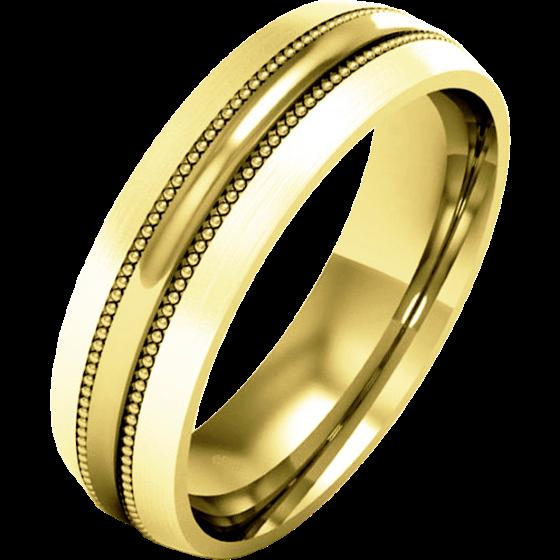 Einfacher Ehering für Dame in 9kt Gelbgold mit Milgrain Design, Schwergewicht, mit einem polierten/gebürsteten Finish-img1