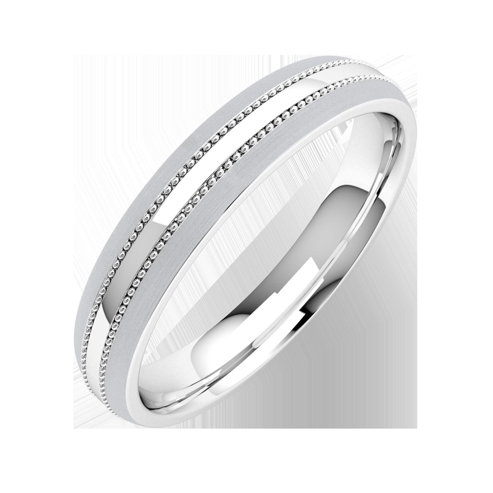 Einfacher Ehering für Dame in Palladium mit Milgrain Design, Schwergewicht, mit einem polierten/gebürsteten Finish-img1
