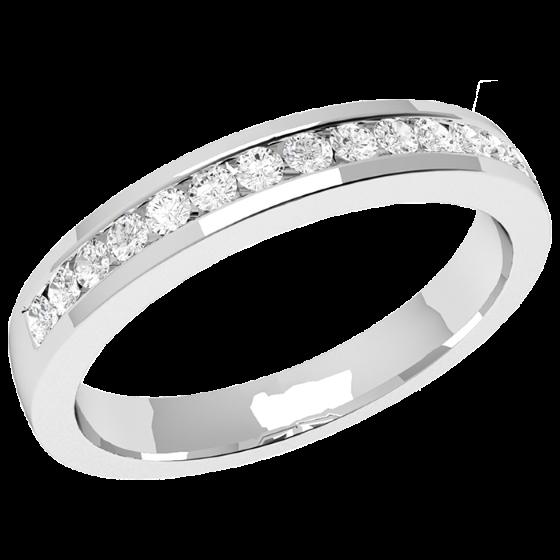 Halb Eternity Ring/Ehering mit Diamanten für Dame in 9kt Weißgold mit 14 runden Brillanten in Kanalfassung, bombiertes Profil, 2.9mm Breit-img1